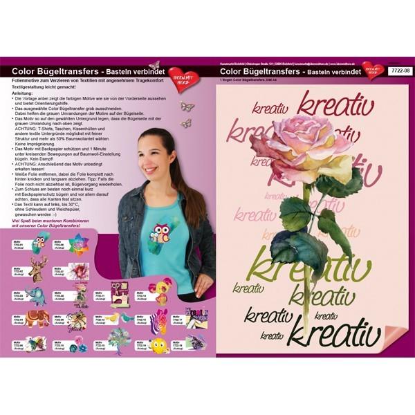Color Bügeltransfers, DIN A4, Bastelspruch, Kreativ-Rose