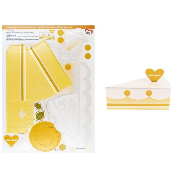 Stanzbogen, Kuchen-Schachteln, Design 4a, DIN A4, 12 Stück