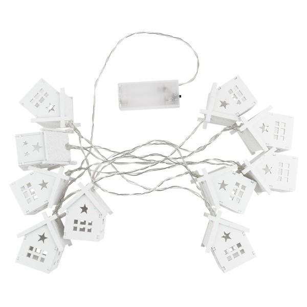 LED-Häuser-Lichterkette, 10 LED-Lämpchen, warmweiß, Kabellänge: 2,1 m
