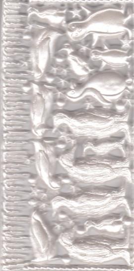 Wachsornament-Platte Pinguine, 16 x 8 cm, perl-weiß