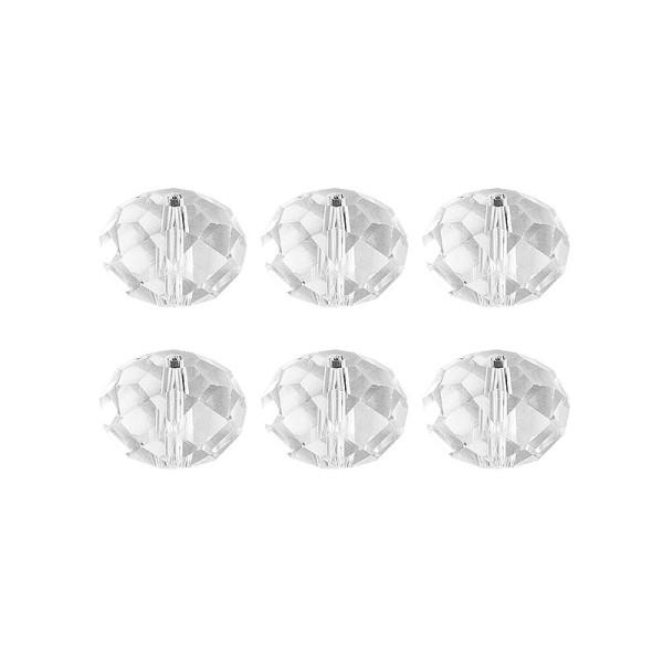 Glaskunst, Perlen, Rondell, 1,8cm x 1,2cm, facettiert, klar, 6 Stück