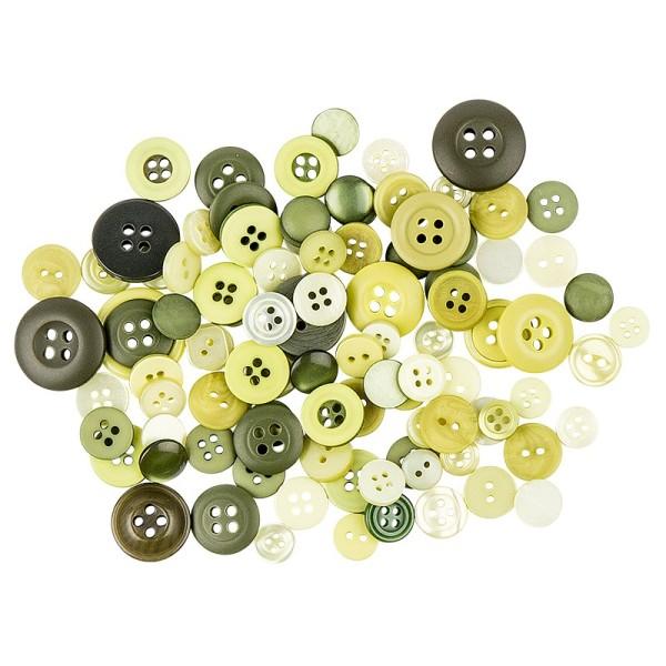 Farbige Knöpfe, 30g, Ø 9-18mm, verschiedene Grüntöne