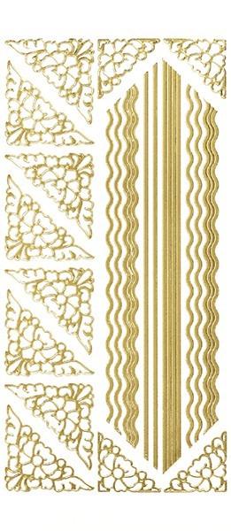 Sticker,Ecken und Linien, gold