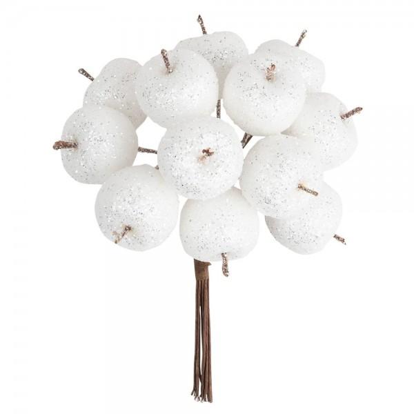 Deko-Zweige, Beschneite Äpfel, 11cm lang, am Draht, silberner Glimmer, 12 Stück