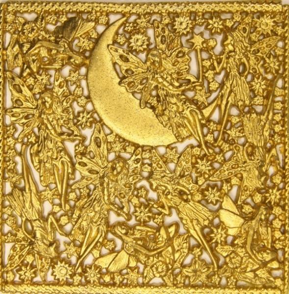 Wachsornament-Platte Elfen, 16 x 16 cm, gold mit Glimmer