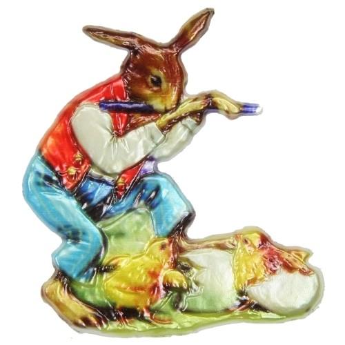 Wachsornament Hase mit Flöte, 7,5 x 7,5 cm