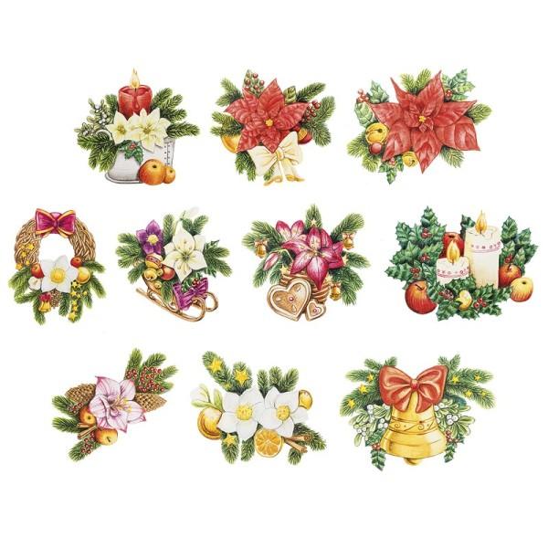 3-D Motive, Weihnachtliche Floristik, 7-9,5cm, 10 Motive