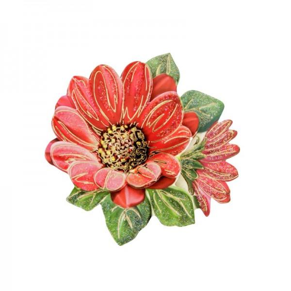3-D Motiv, rote Blüte, Gold-Gravur & Glimmerlack, 8 cm