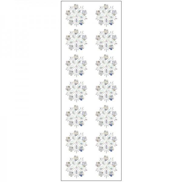 Kristallkunst, Blüten-Ornament 4, 10cm x 30cm, selbstklebend, klar irisierend
