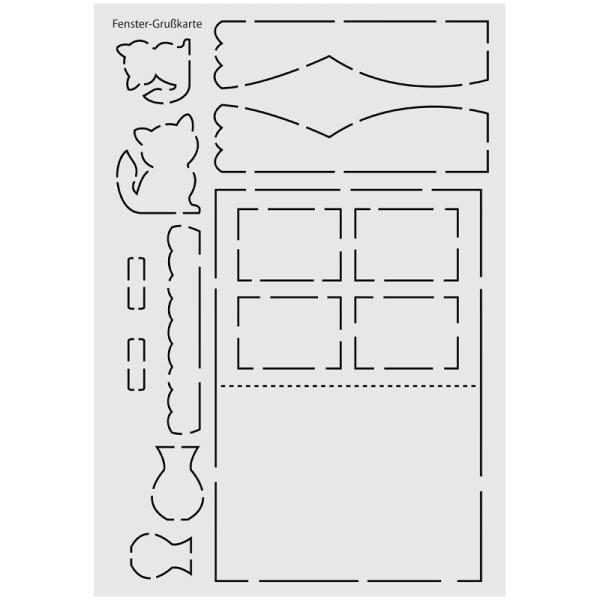 """Design-Schablone Nr. 11 """"Fenster-Grußkarte"""", DIN A4"""