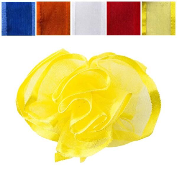 Zieh-Rüschenband, Organza mit Satinkante, kräftige Farben, 1m x 3,8cm, 10 Stück
