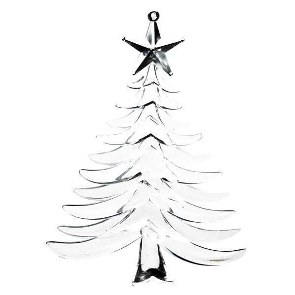 Weihnachts-Deko-Anhänger, klar, Tanne, 13x10cm