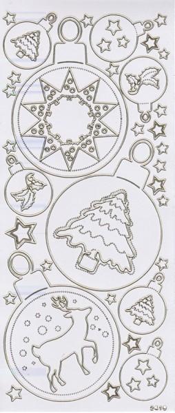 Sticker, Weihnachtskugeln, weiß-perlmutt