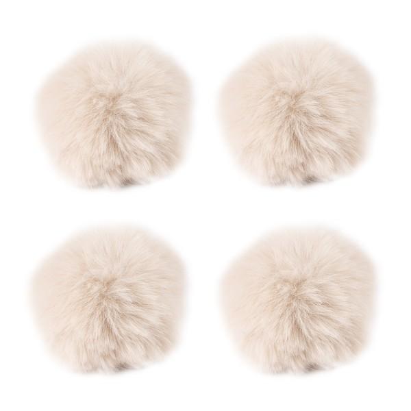 Fell-Pompons, Ø 8cm, beige, 4 Stück