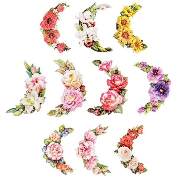 3-D Motive, Blumen im Halbkreis, 8,5-15cm, 10 Motive