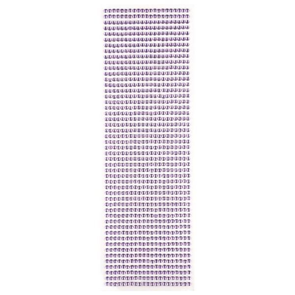 Glitzerstein-Bordüren, selbstklebend, rund, Ø4mm, flieder