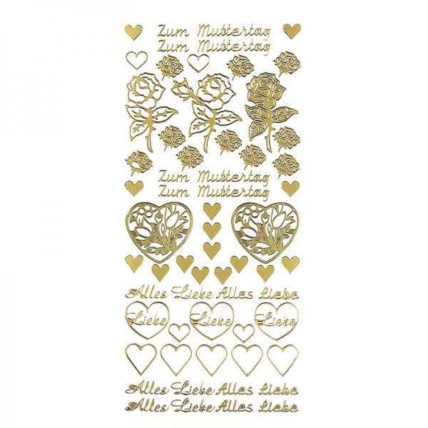 Sticker, Schrift, Zum Muttertag, gold