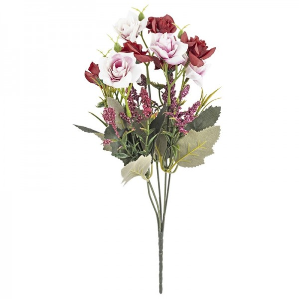 Blütenbusch, Rosen 3, 30cm hoch, 10 große Blüten, Ø 4cm, rosé/rot