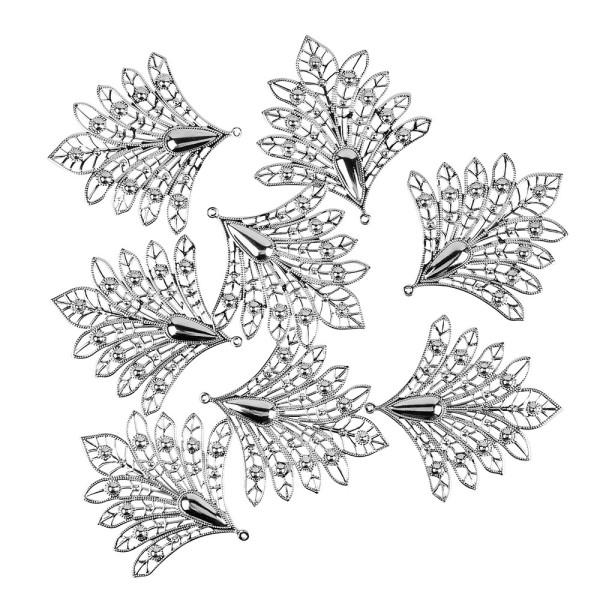 Metall-Ornamente, Design 4, 7,9cm x 7,5cm, silber, 8 Stück