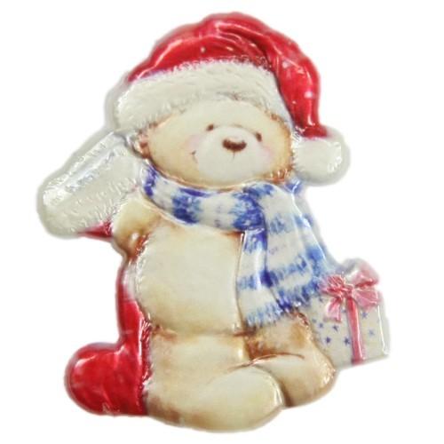 Wachsornament, Weihnachts-Teddy, farbig, geprägt, 7,5x6cm