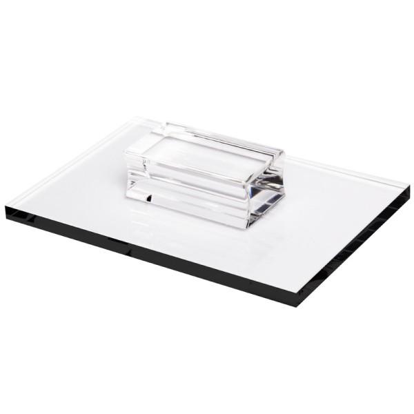 Stempel-Block mit Griff, 16 x 11 x 0,8 cm, transparent