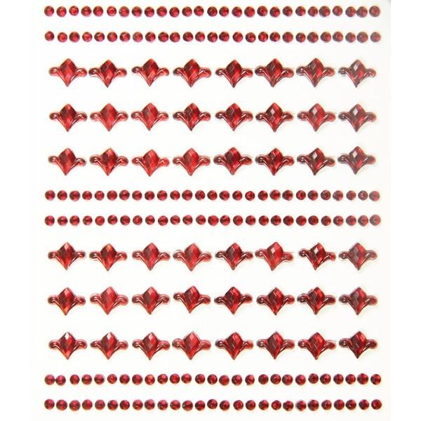 Ornament-Glitzerstein-Bordüren, selbstklebend, Design 1, burgund