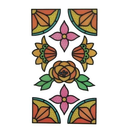 Glas-Design-Stickerbogen, 15 x 9 cm, Floristik