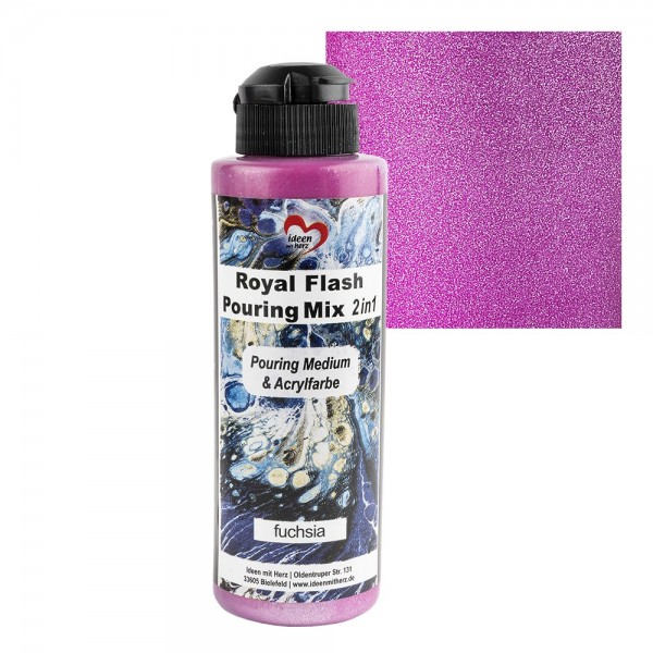 Royal Flash Pouring Mix, 2 in 1, Pouring Medium & Acrylfarbe, fuchsia, 180ml