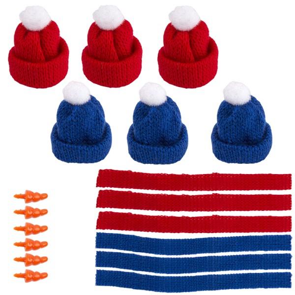 Winter-Outfit 1, Mützen, Schals & Nasen, 18-teilig, für Ø 4cm, blau/rot