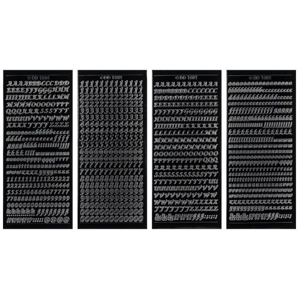 Stickerbogen, Buchstaben & Zahlen, schwarz, 4 Bogen