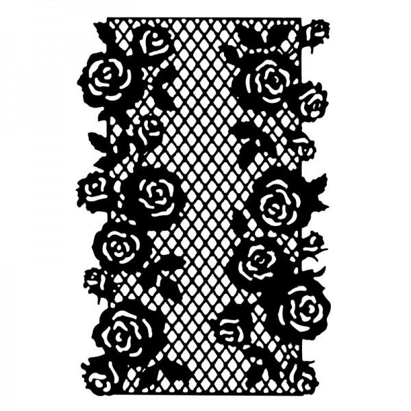 Stanzschablone, Rosen-Zierdeckchen, 14,0cm x 9,2cm