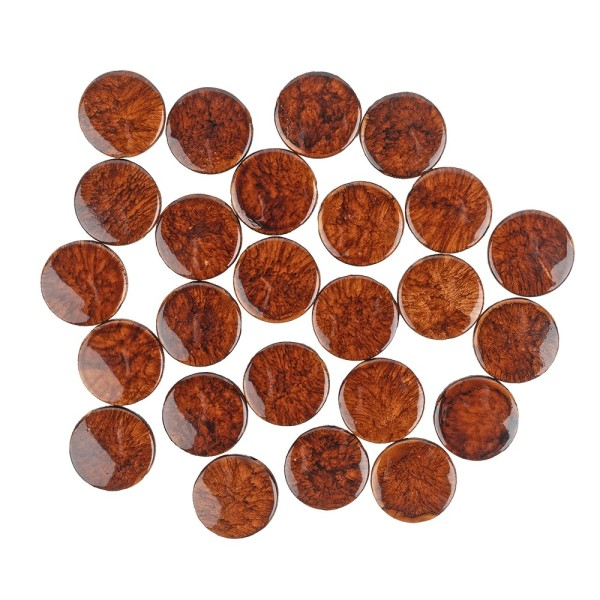 Perlen, Rund, flach, marmoriert, Ø 2cm, braun-schwarz, 23 Stück