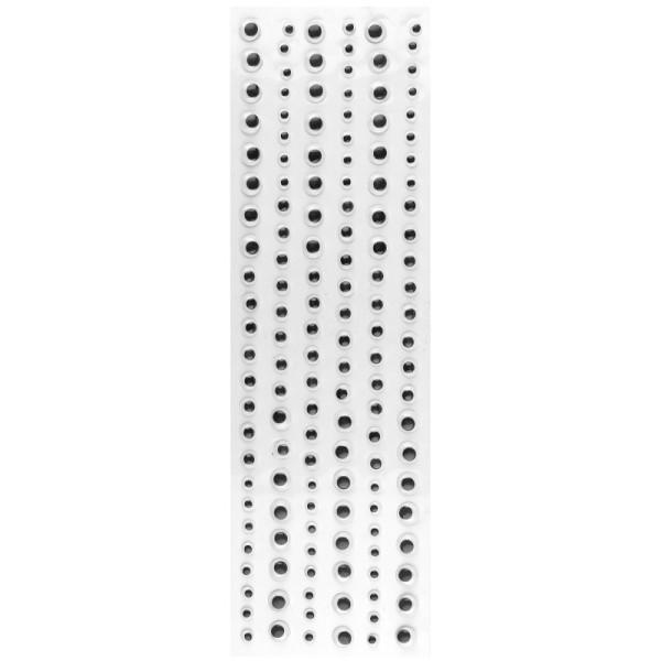 Wackelaugen, selbstklebend, in 3 Größen (6mm, 8mm & 10mm Ø), schwarz, 430 Stück
