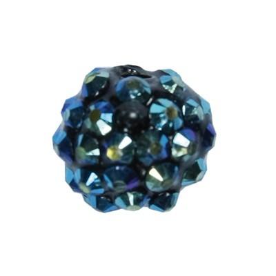 Kristall-Perlen, Ø14 mm, 10 Stück, dunkelblau-irisierend