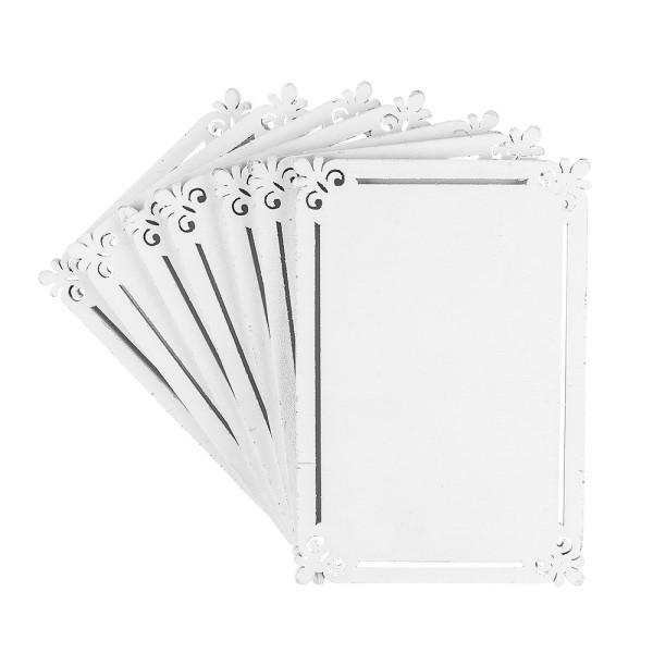 Rahmen, Holz, 13,7cm x 9,3cm x 0,5cm, weiß, 7 Stück