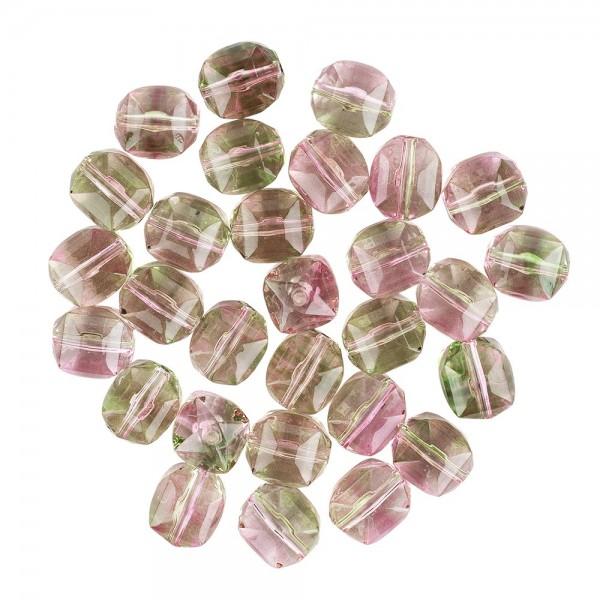 Perlen, Quader, facettiert, 1,3cm x 1,2cm, rosa-hellgrün, 28 Stück