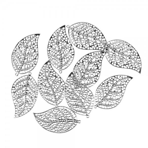 Metall-Ornamente, Blatt 5, 7,2cm x 4,1cm, silber, 10 Stück