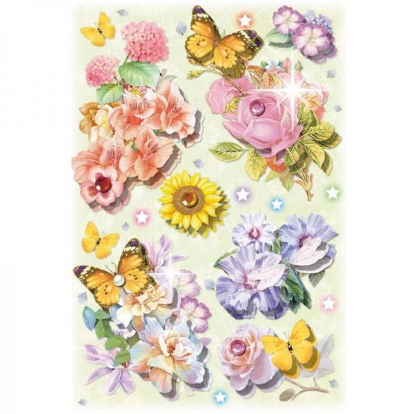 3-D Stickerbogen, Blumen & Schmetterlinge 4, 12,7 x 18,8 cm