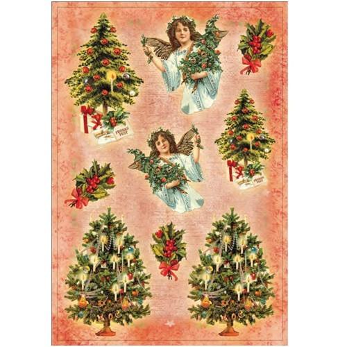 3-D Stickerbogen, Weihnachtsbäume & Engel, 12,5 x 18,5 cm
