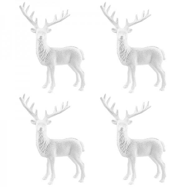 Winter-Deko, Rohling, Hirsch, 14cm x 11cm, weiß, 4 Stück