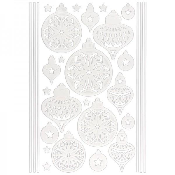 3-D Sticker, Deluxe Weihnachtskugeln,verschiedene Größen, selbstklebend, weiß