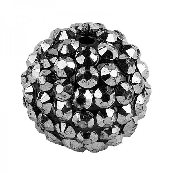 Kristall-Perlen, Ø 18mm, anthrazit, 10 Stück