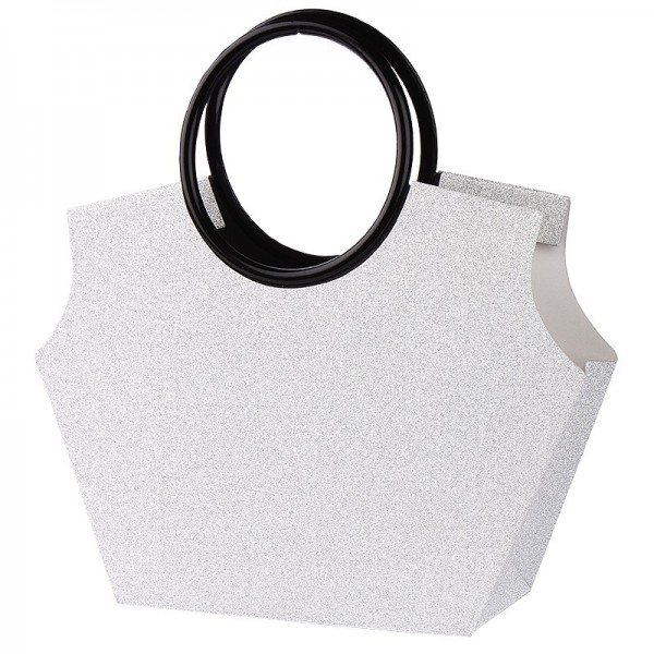 Glitzer-Taschen mit Henkeln, Stanzformen, Diamantpapier, silber, 21,5cm, 5 Stück