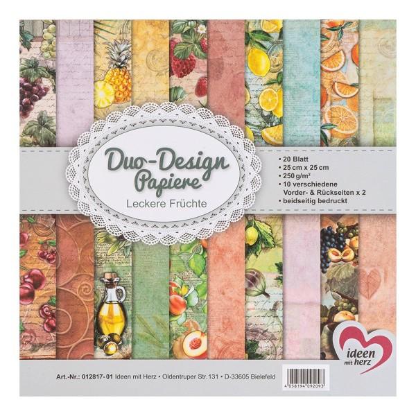 Duo-Design-Papiere, Leckere Früchte, beidseitig bedruckt, 25cm x 25cm, 250g/m², 20 Blatt