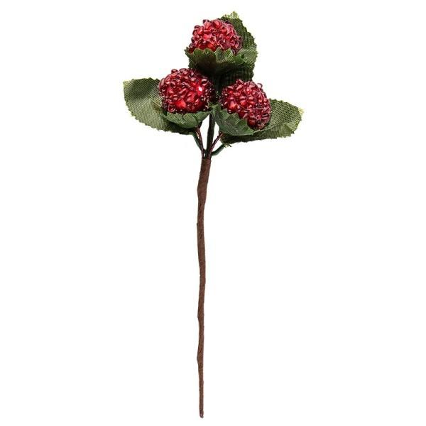 Deko-Zweige, Rote Beeren 2, 14cm lang, 4 Stück