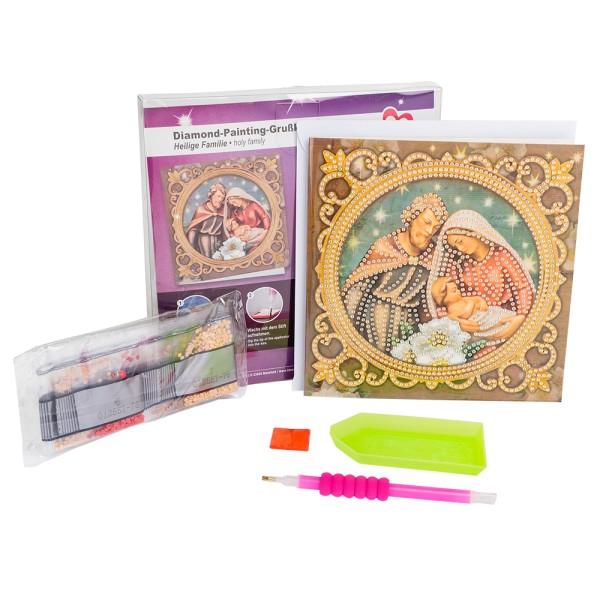 Diamond-Painting-Grußkarte, Heilige Familie, 16cm x 16cm, 370g/m², inkl. Umschlag & Werkzeug