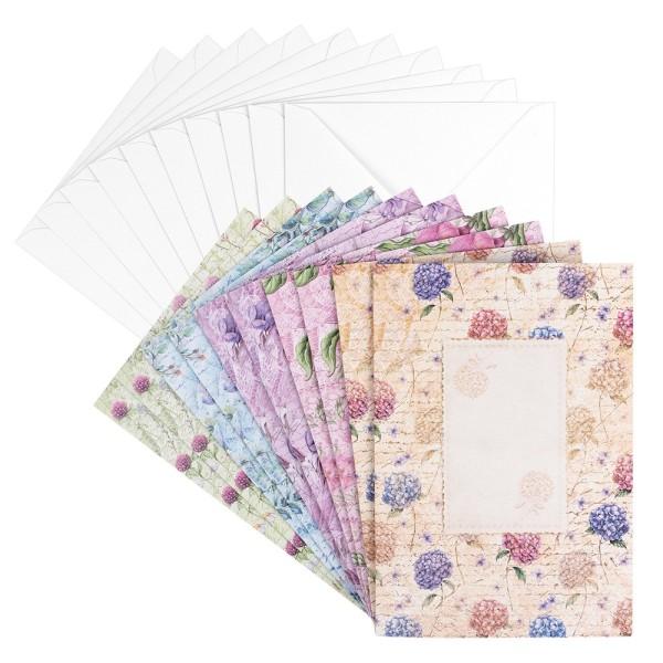 Motiv-Grußkarten, Blütentraum 1, B6, 230 g/m², 5 versch. Designs, inkl. Umschläge, 10 Stück