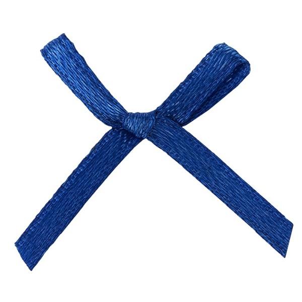 Schleifen, Satin, Bandbreite 3mm, 50 Stück, blau