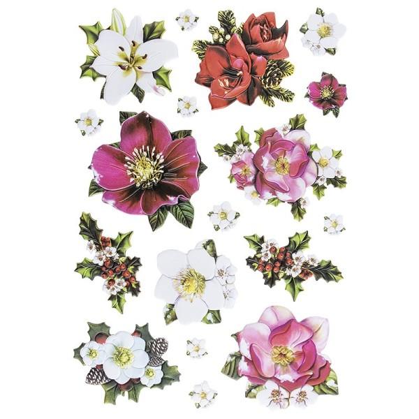 3-D Relief-Sticker, Weihnachtsblumen, verschiedene Größen, selbstklebend
