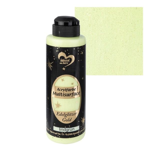 "Acrylfarbe ""Multisurface"", Edelglitzer Gold, lindgrün, 180ml"